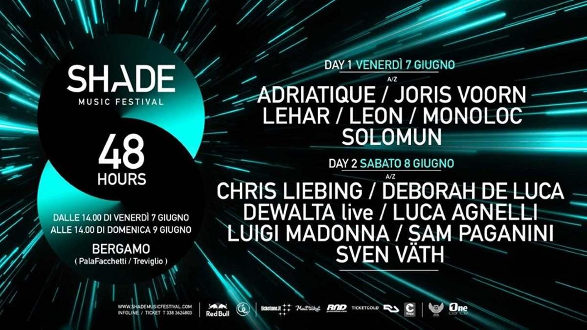 Shade Music Festival '19: 48 ore di musica elettronica con Sven Väth, Solomun, Chris Liebing, Joris Voorn, Sam Paganini…