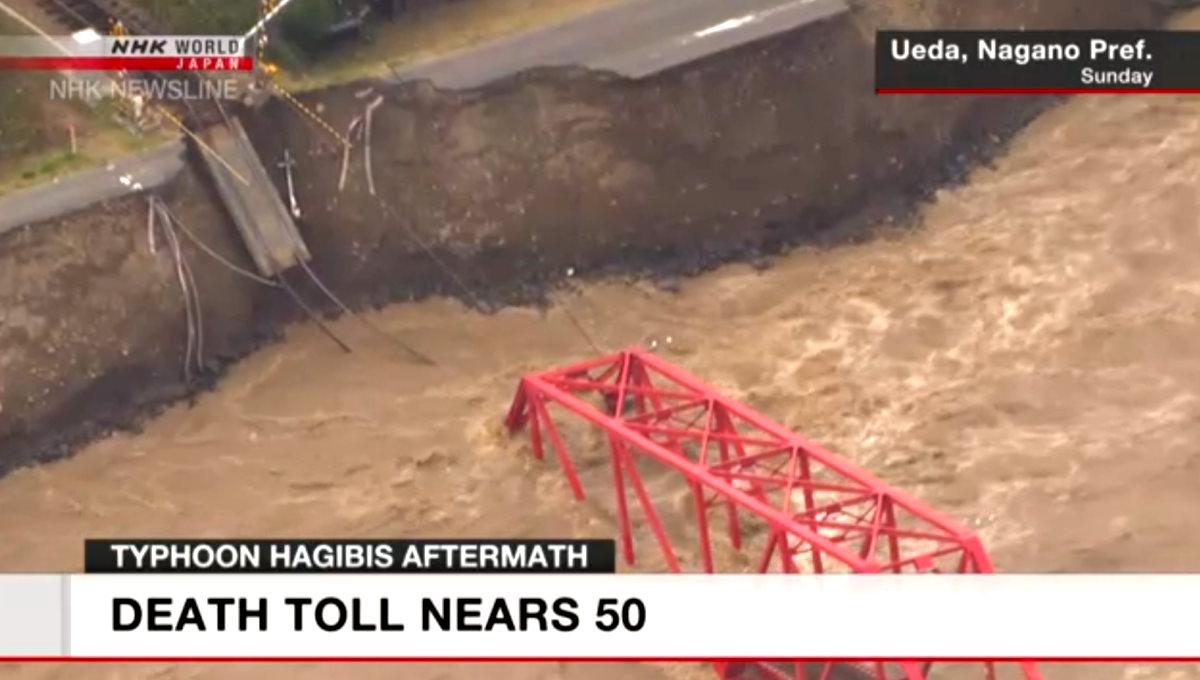 È arrivato a 49 (ancora parziale) il numero delle vittime in Giappone causate dal tifone Hagibis