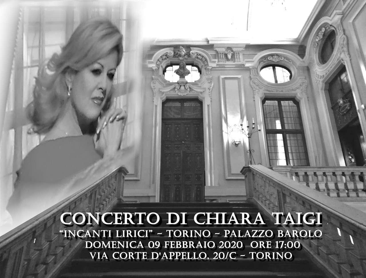 """CHIARA TAIGI, Concerto """"Incanti Lirici"""". Torino, 9 febbraio 2020 ore 17 a Palazzo Barolo"""