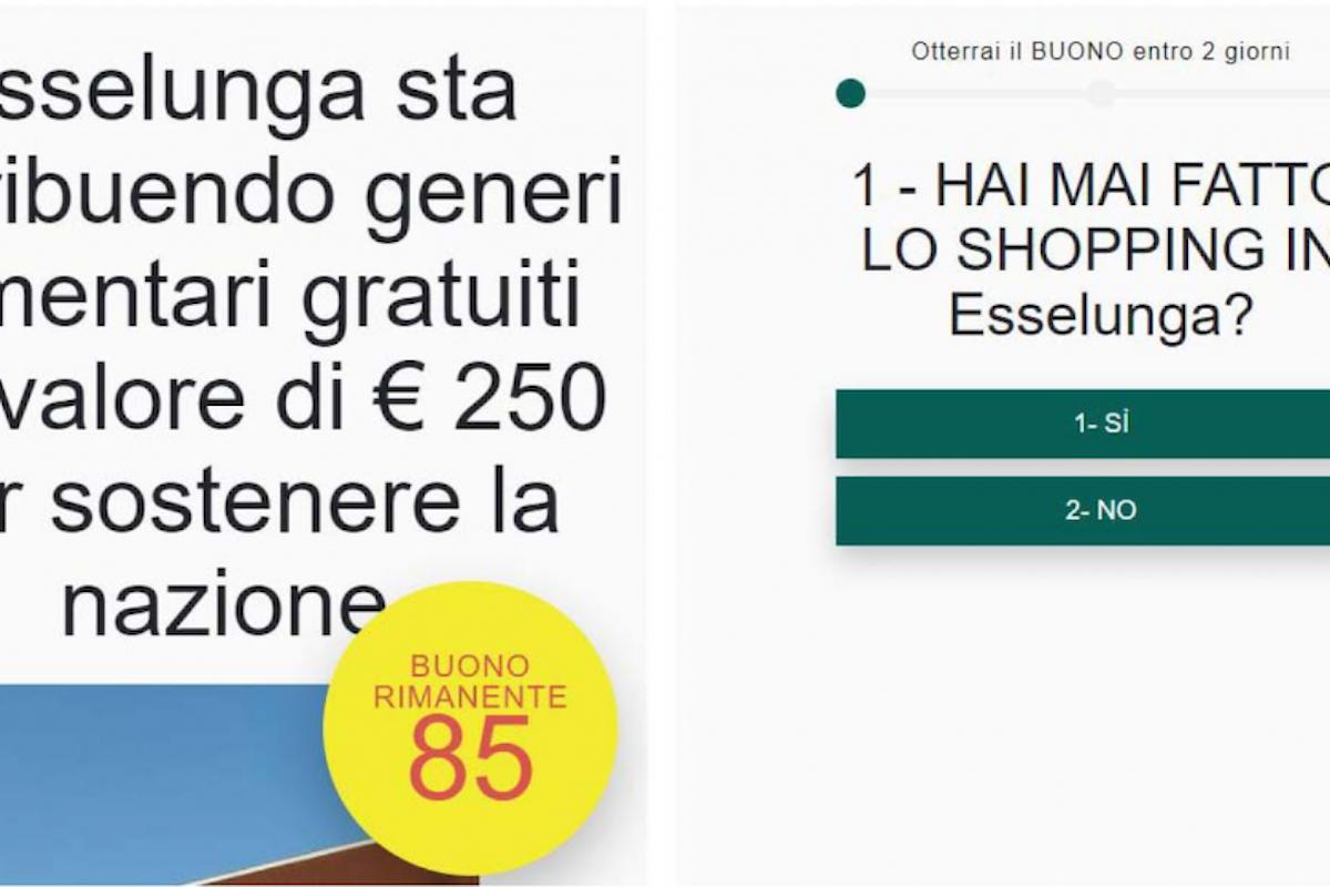 Bufala buoni spesa da 250 euro all'Esselunga, attenzione