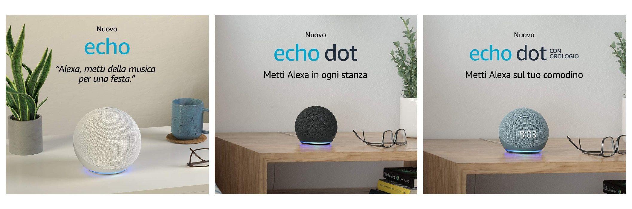 Amazon Echo e Echo Dot di quarta generazione ufficiali: cambiano il design e le caratteristiche, ma non il prezzo