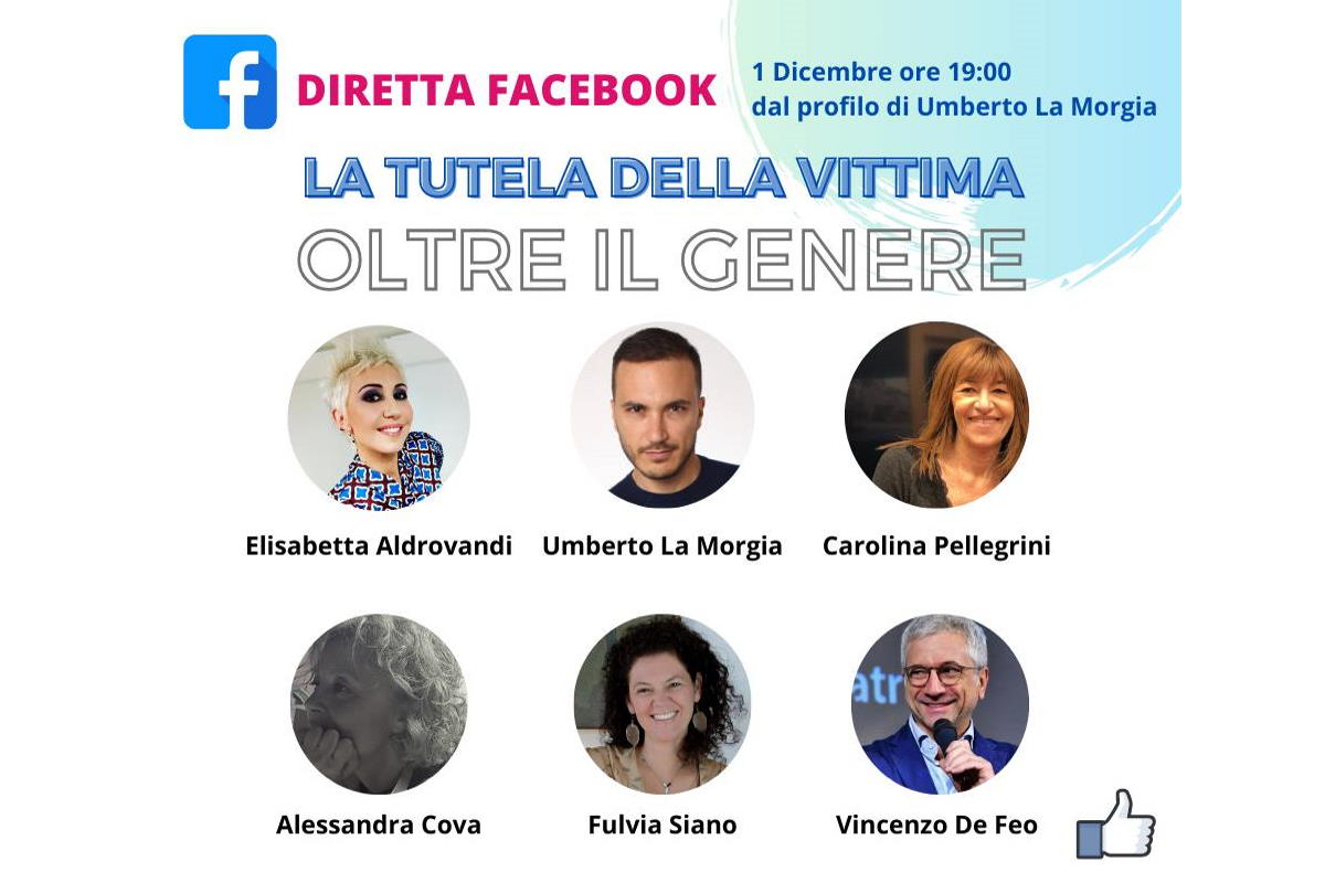 La tutela della vittima, Oltre il Genere, l'1 dicembre la Diretta Facebook dalla pagina di Umberto la Morgia