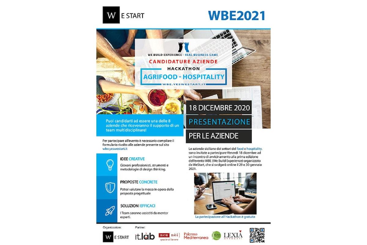 Presentazione di We Build Experience - Evento on line organizzato da WeStart, 18 dicembre, sulla piattaforma Zoom