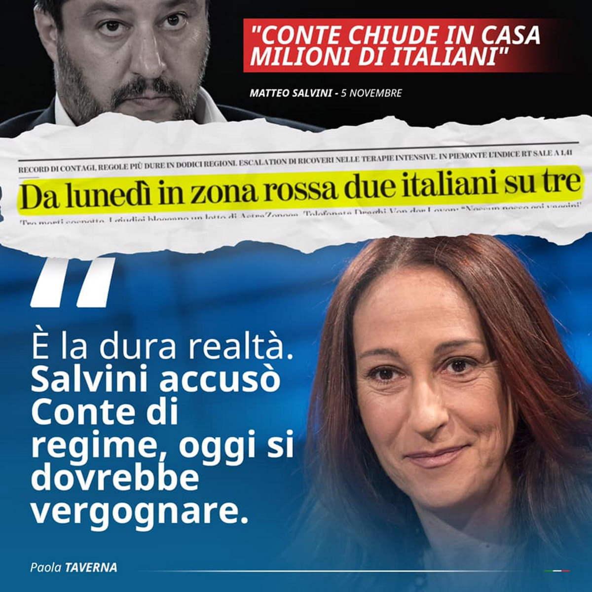 Covid: la senatrice Taverna ha ricordato a Salvini quando ha attaccato Conte per le chiusure, mentre adesso con Draghi tace