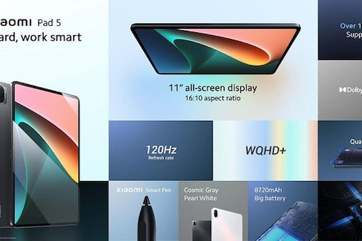 Xiaomi Pad 5 presentato ufficialmente: il tablet Android che sfida gli iPad perfetto per la produttività e lo svago