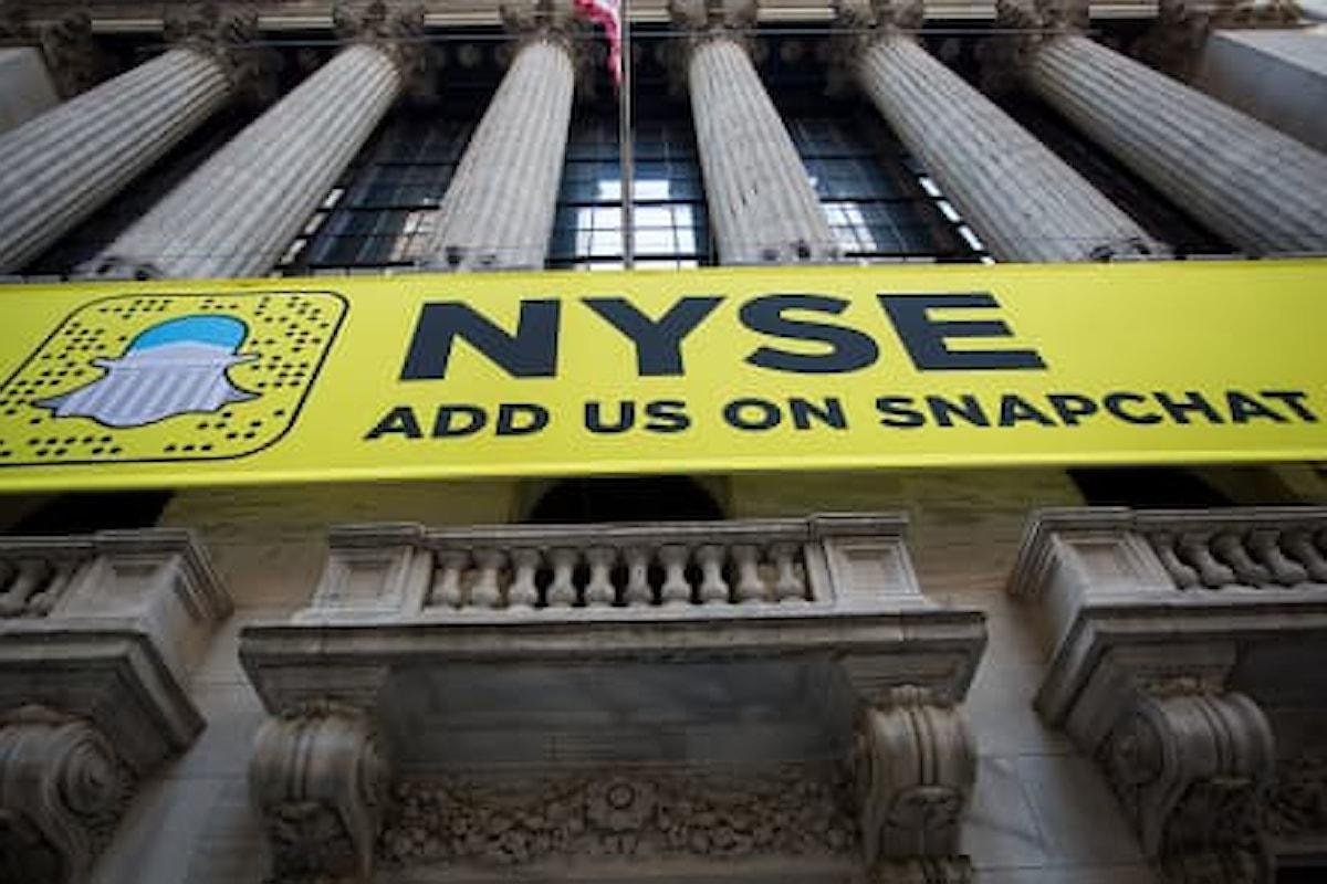 Borsa: Snapchat va giù, scoppia la bolla speculativa