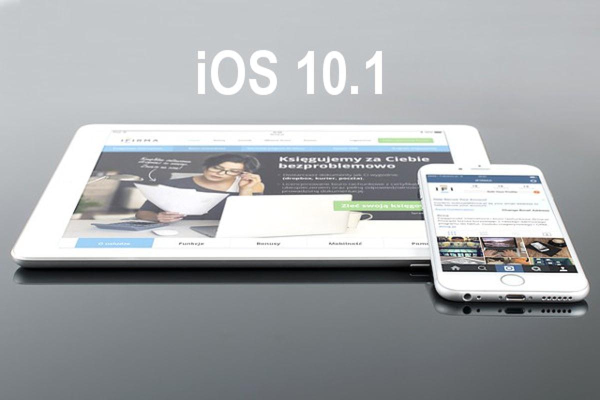 Apple rilascia il nuovo sistema operativo per iPhone e iPad: iOS 10.1