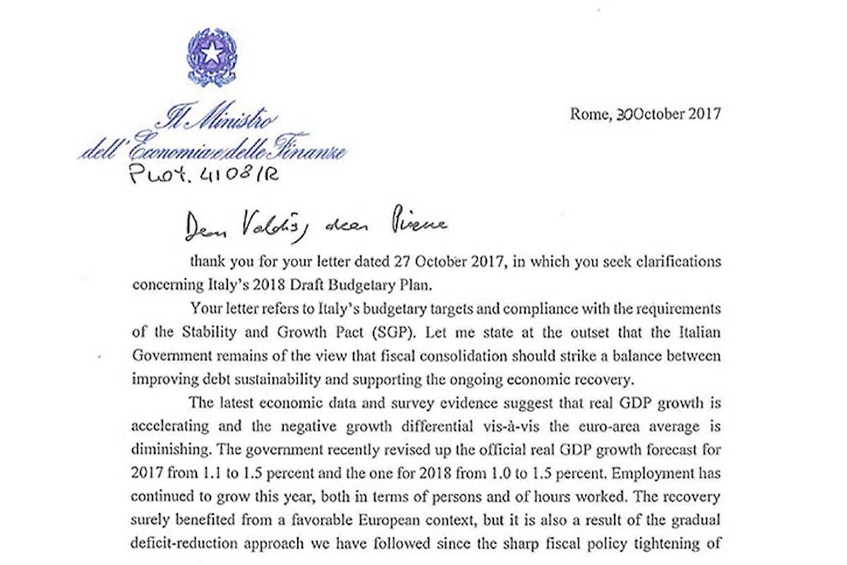 La risposta di Padoan a Dombrovskis e Moscovici ai rilievi sulla legge di bilancio 2018