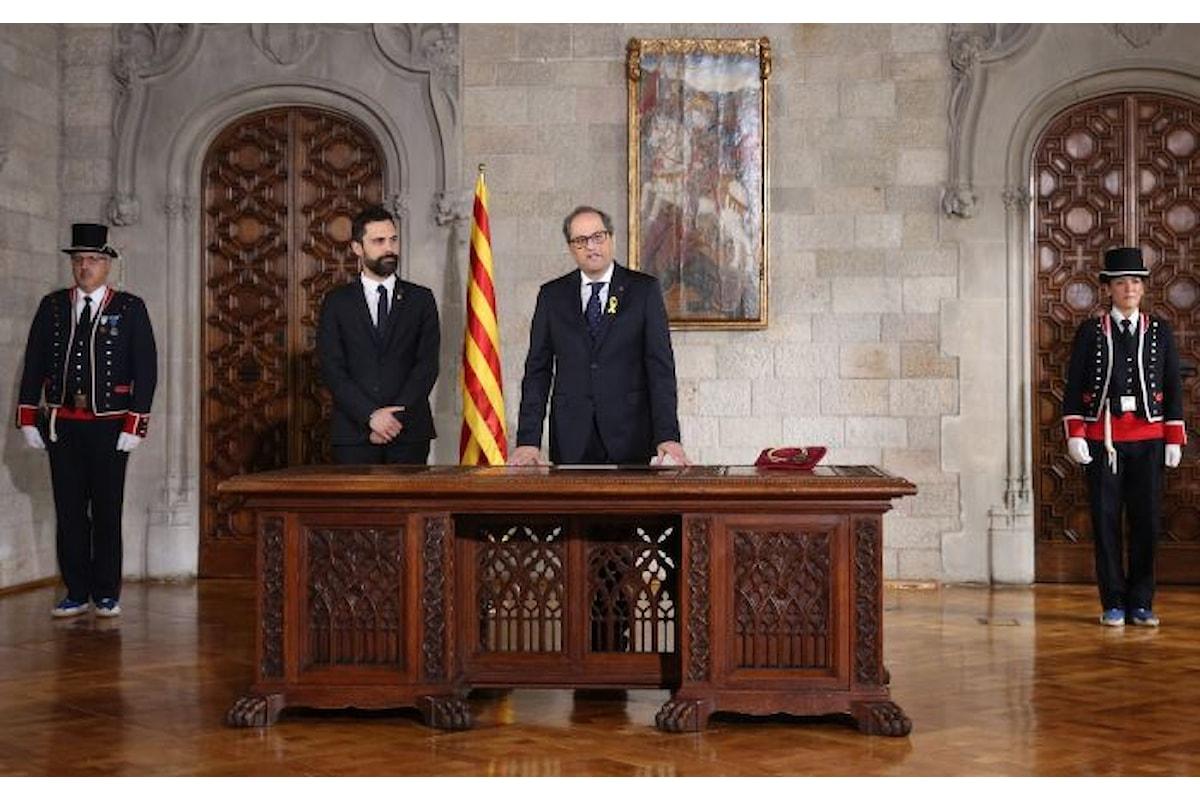 Quim Torra giura fedeltà al popolo catalano ma non alla Costituzione spagnola