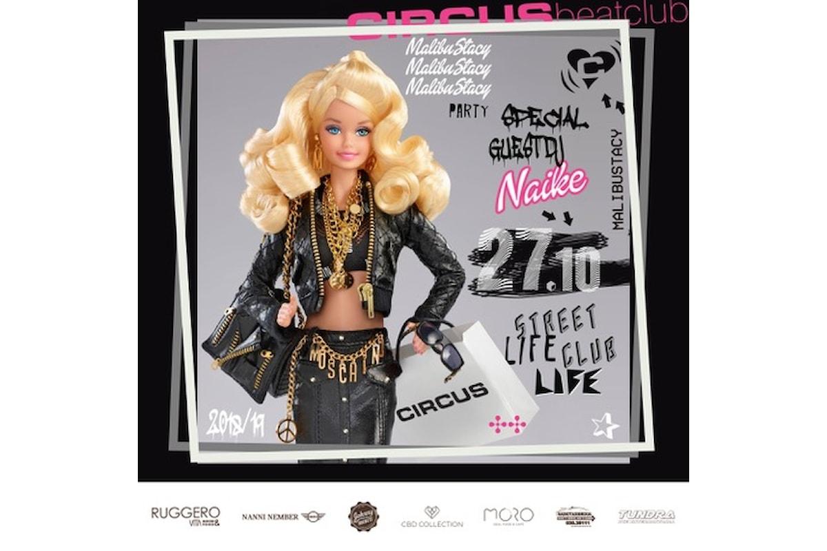 Circus beatclub, a Brescia il 27 ottobre Malibu Stacy party con Dj Naike... oltre ad un weekend di grandi party