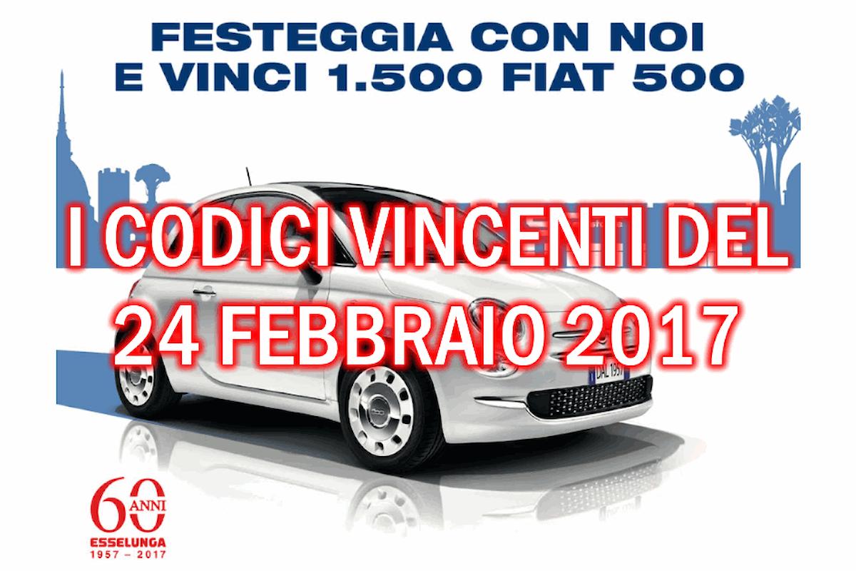 Estrazione codici vincenti le Fiat 500 di venerdì 24 febbraio 2017