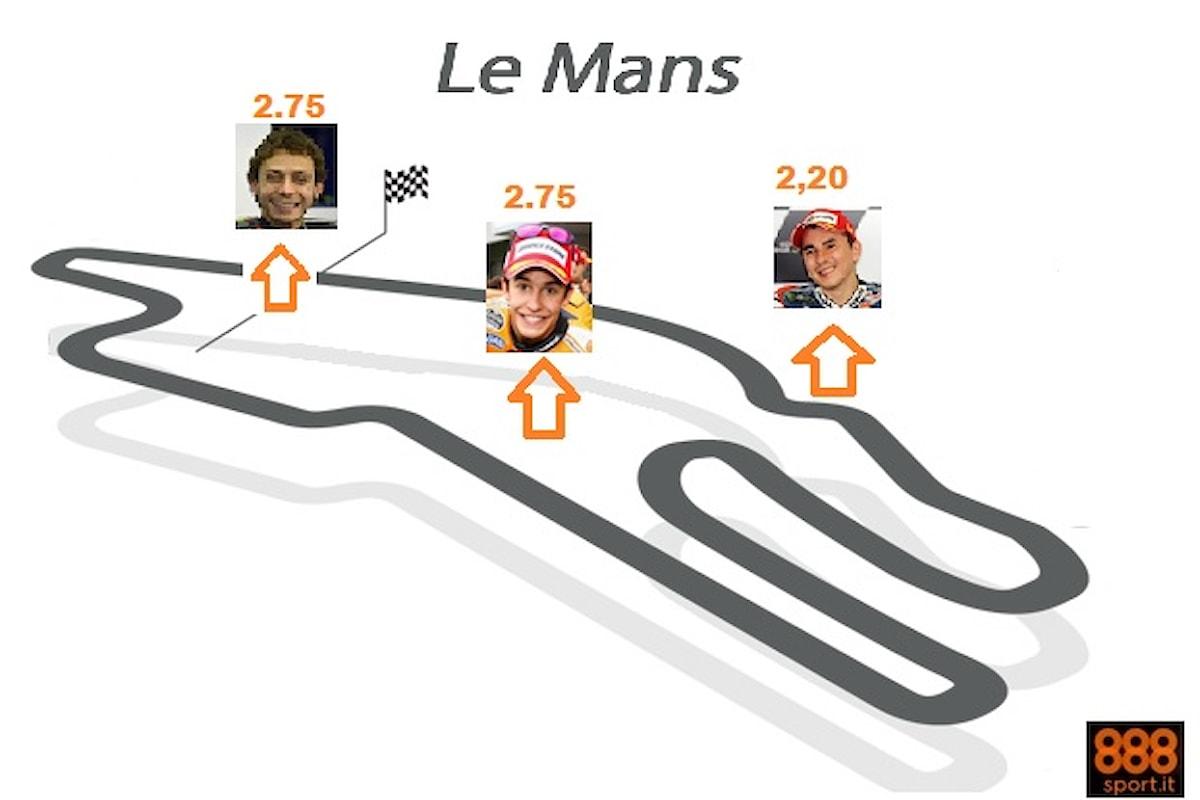MotoGp, Le Mans: Il bis di Rossi a 2,75, Lorenzo favorito a 2,20