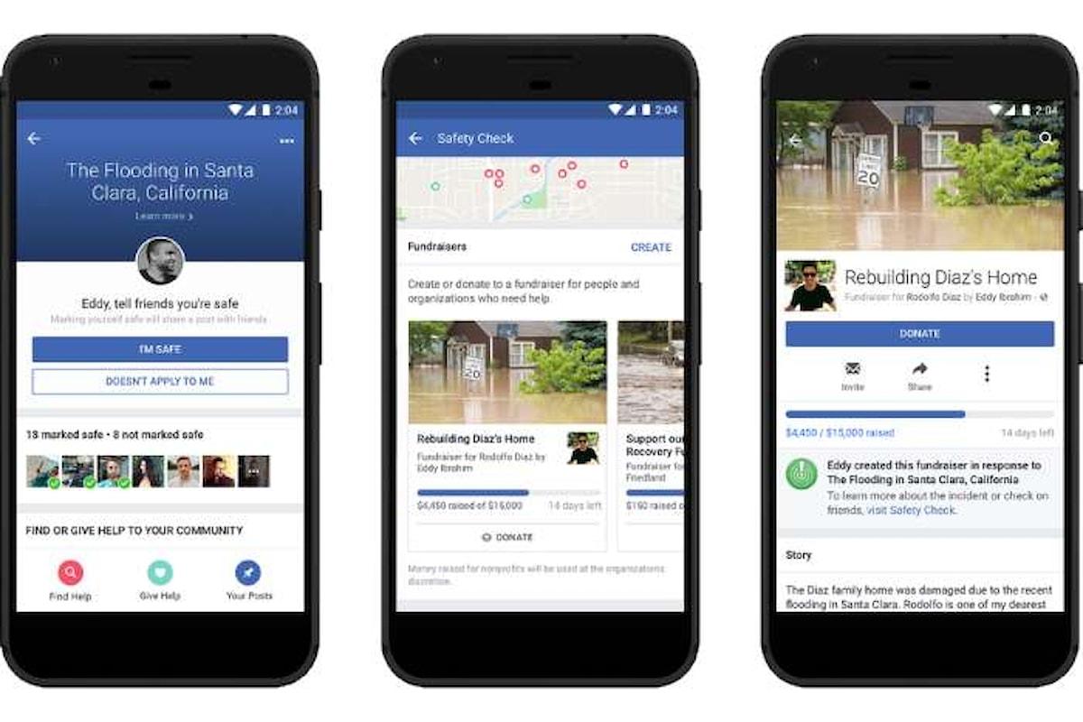 Facebook aggiunge la funzionalità per la raccolta fondi all'interno di Safety Check