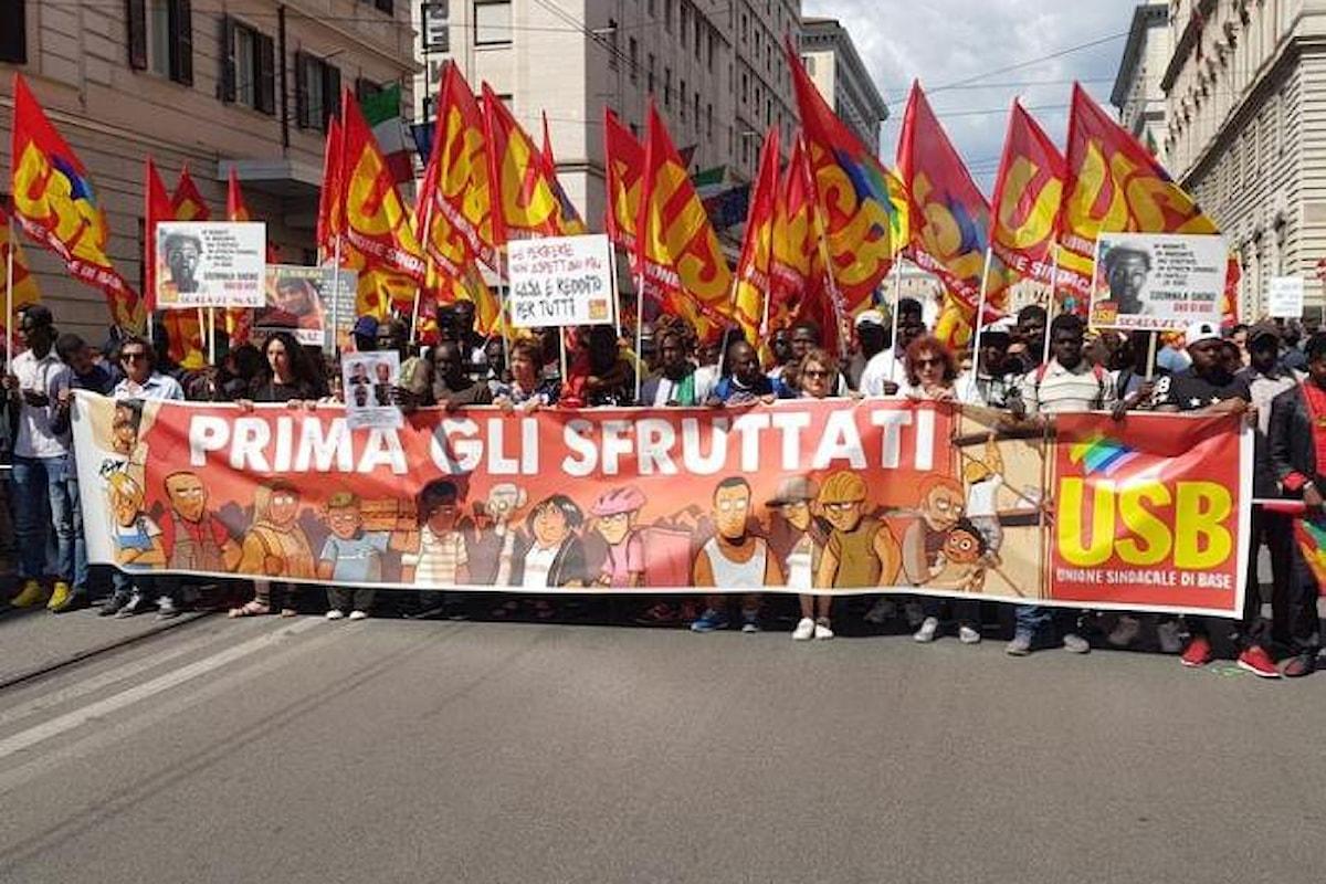 In ventimila a Roma per la manifestazione organizzata dall'USB contro le disuguaglianze