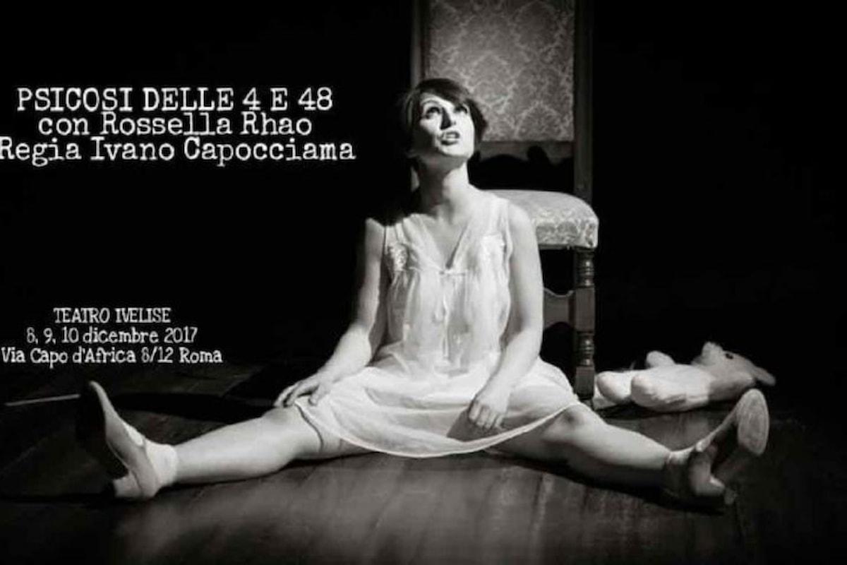Rossella Rhao al Teatro Ivelise di Roma con lo spettacolo Psicosi delle 4 e 48