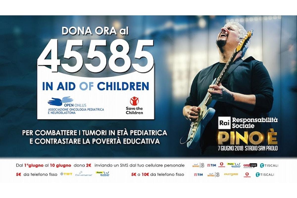 """""""PINO È"""", l'intensità della musica per cogliere l'attimo a donare. 45585 """"In Aid Of Children"""""""